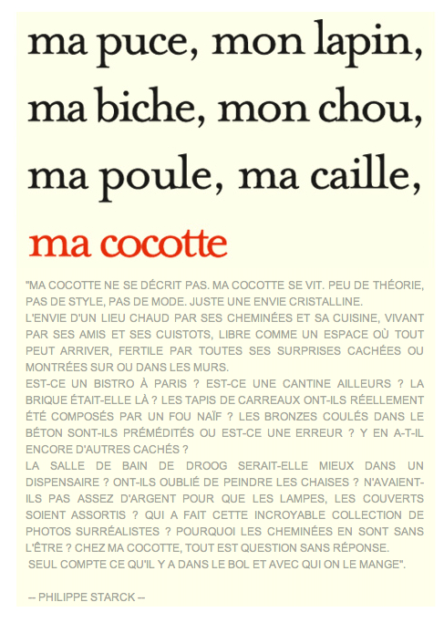 Ma Cocotte -texte Philippe Starck